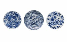 Lot of three blue and white porcelain dishes, 1) decorated with phoenixes and flowers. Unmarked.