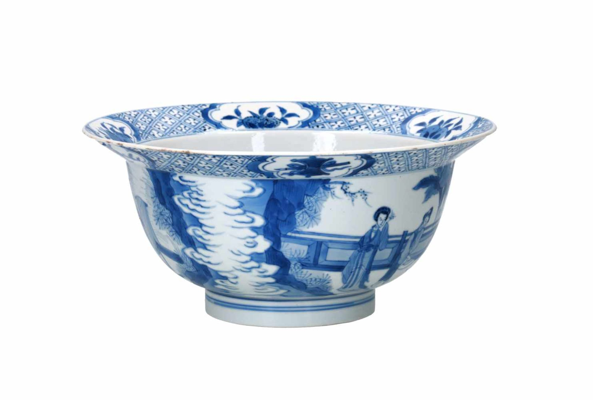 A blue and white porcelain 'klapmuts' bowl, decorated with scenes of the Romance of the Western - Bild 4 aus 6