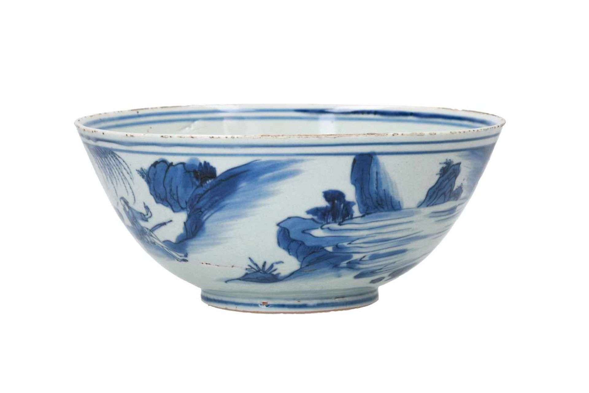 A blue and white porcelain bowl, decorated with a past-master in a mountainous river landscape. - Bild 2 aus 6