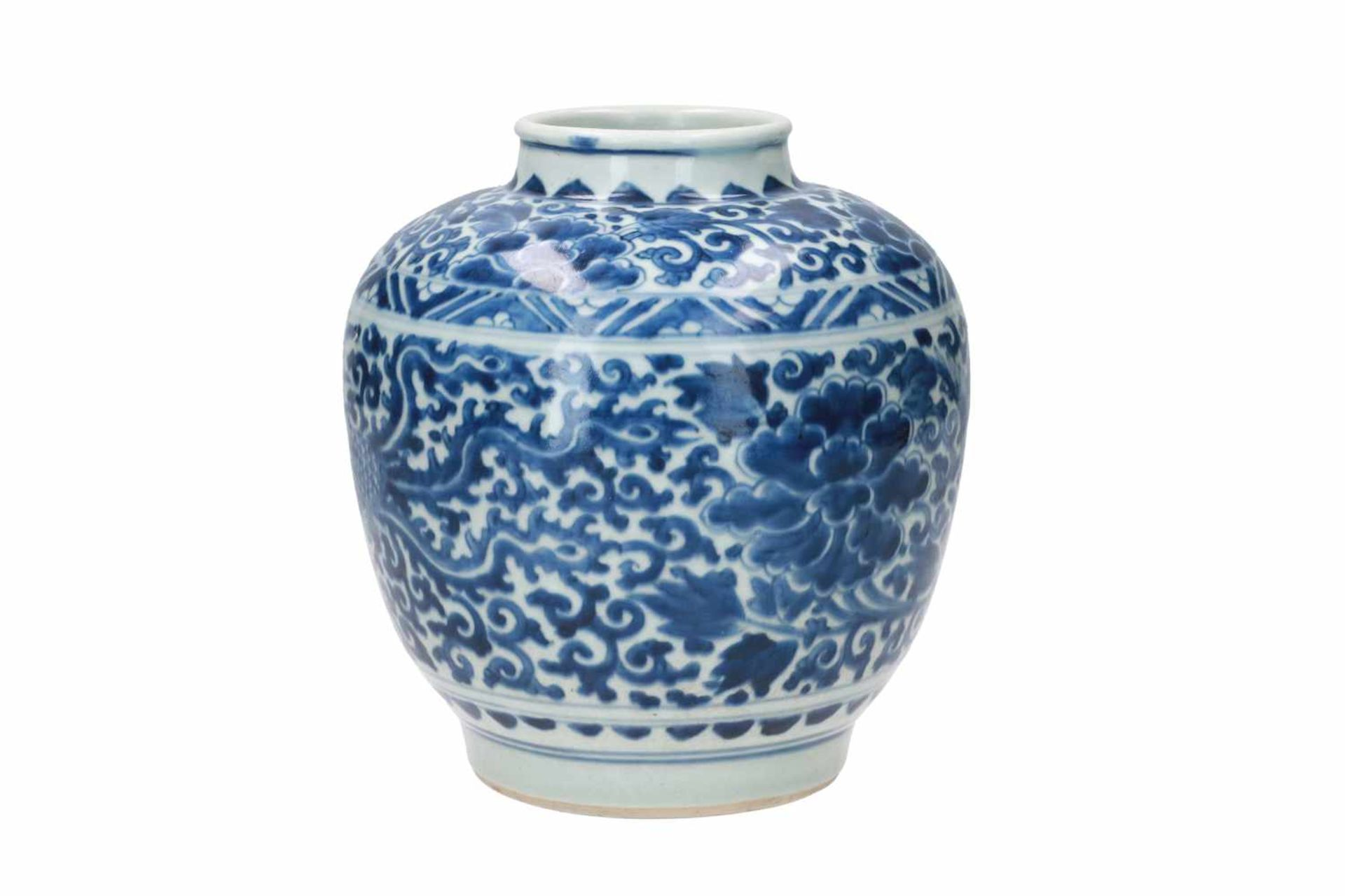 A blue and white porcelain jar, decorated with phoenixes and flowers. Marked with a hare. China, - Bild 2 aus 6