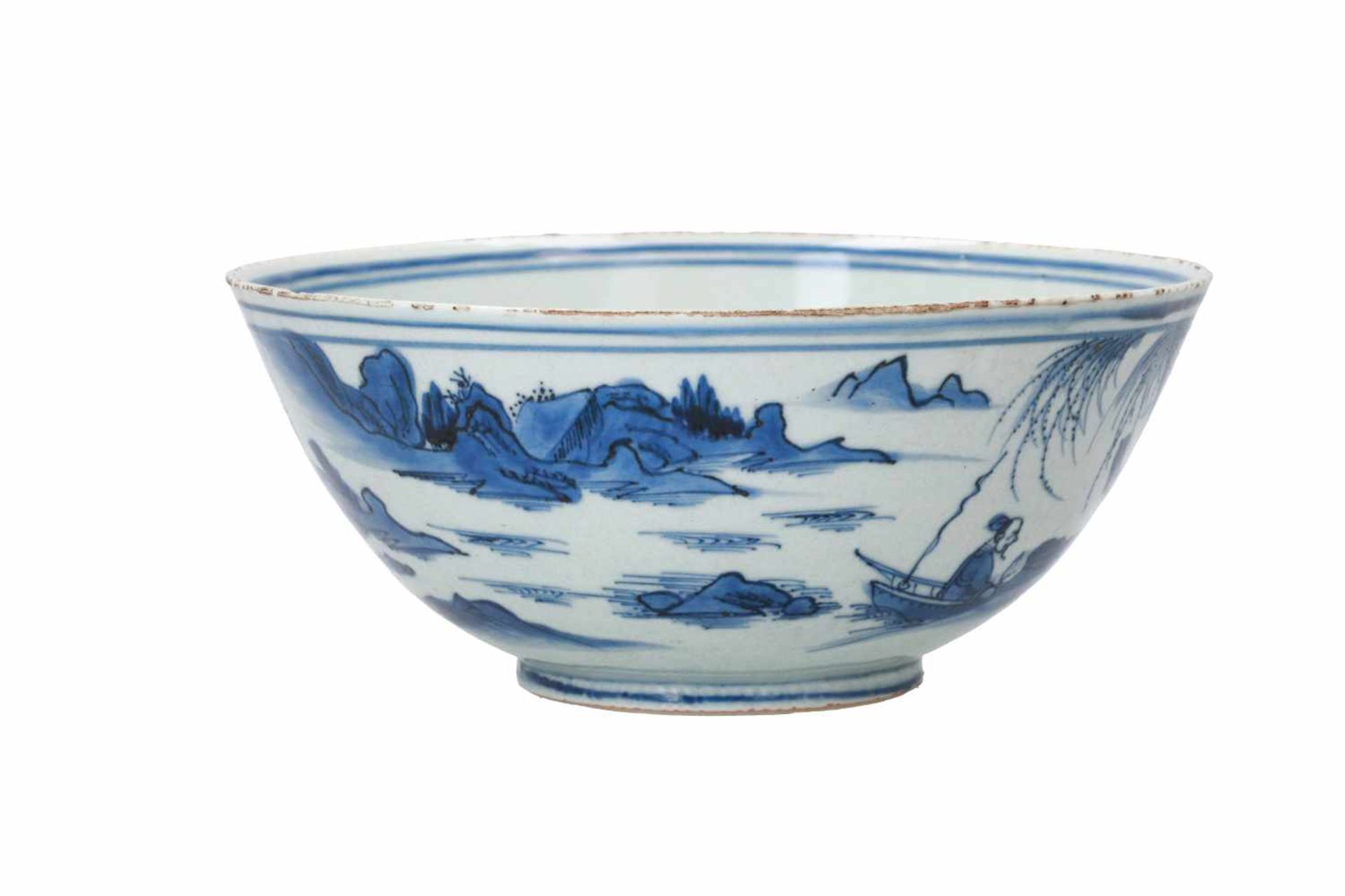 A blue and white porcelain bowl, decorated with a past-master in a mountainous river landscape. - Bild 4 aus 6