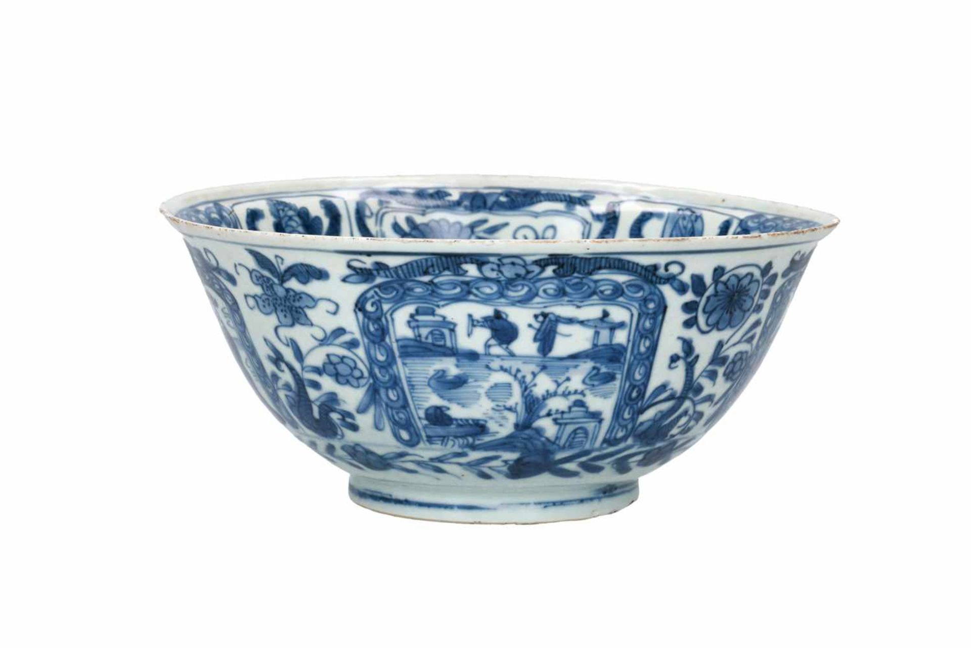 A blue and white porcelain bowl, decorated with figures, tulips and landscapes. Unmarked. China, - Bild 3 aus 6