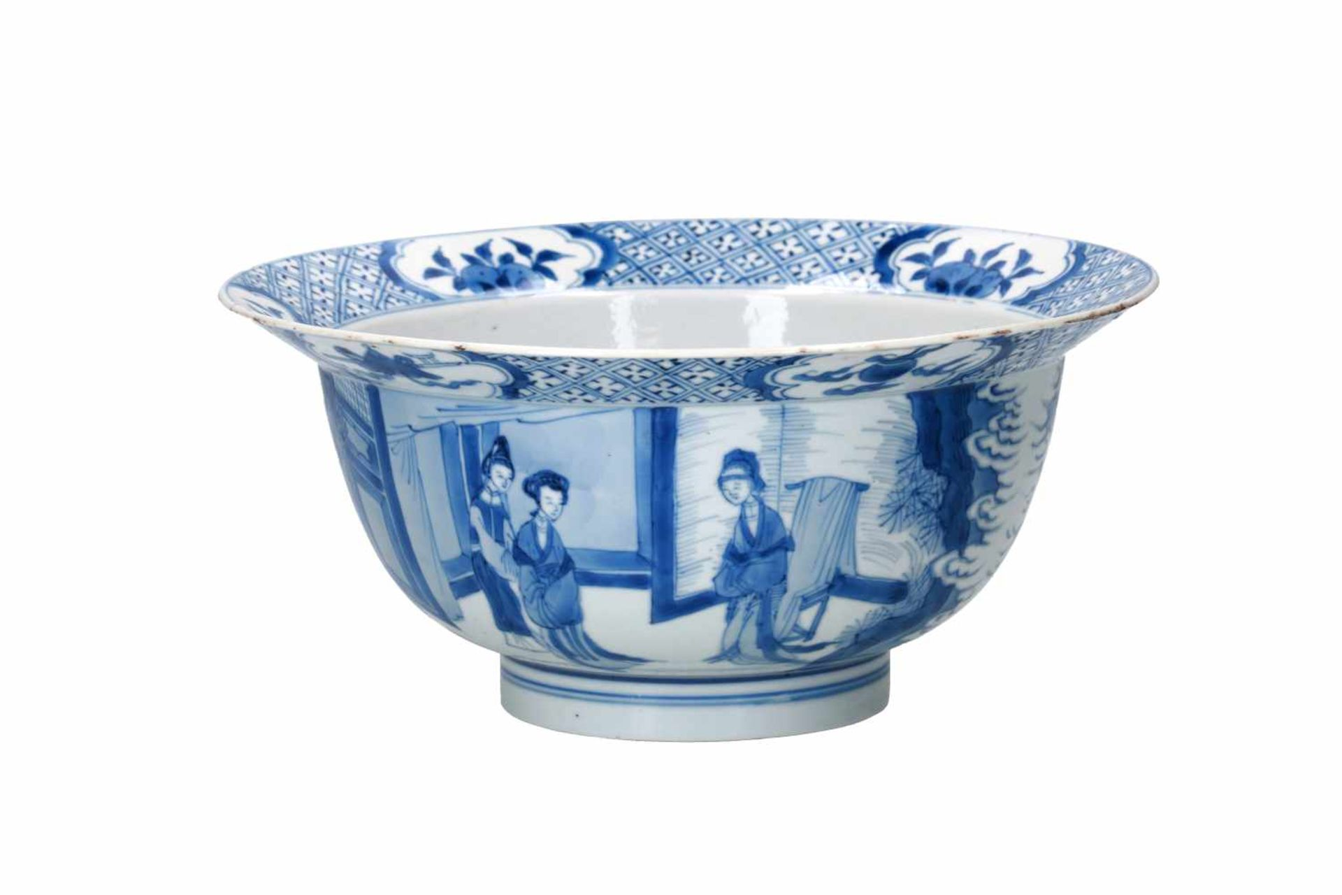A blue and white porcelain 'klapmuts' bowl, decorated with scenes of the Romance of the Western - Bild 3 aus 6