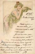 Kunst u. Kultur,Berühmte Maler,MuchaMucha, Alfons Frau Jugendstil 1901 I-IIDieses Los wird in