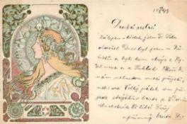 Kunst u. Kultur,Berühmte Maler,MuchaMucha, Alfons Frau Jugendstil 1899 I-IIDieses Los wird in
