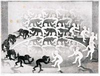 Maurits Cornelis Escher (Leeuwarden 1898 - Hilversum 1972) Encounter - Begegnung Lithographie, 34 x 46,5 cm, l. u. mit Bleistift sign. und num. M. C. Escher 106/200, r. u. im Stein monogr. und dat. MCE V 44, einge Stockflecken, unter Passepartout und Glas gerahmt. - Literatur: WVZ: Bool 331. - Niederländischer Graphiker. E. begann 1919 ein Architekturstudium in Haarlem, verlegte sich aber sehr bald ausschließlich auf graphische Techniken und brachte es bald zu einer selten erreichten handwer...