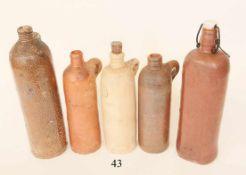 Konvolut 5 alte Wasserflaschen