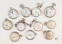 Konvolut 11 alte Taschenuhren