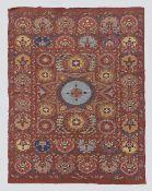 All Silk Bukhara Medallion Design Suzani