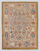All Silk Geometric Carpet Design Suzani