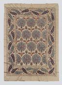All Silk Ottoman Design Suzani with Palmettes