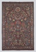 All Silk Aubergine Kashmir Carpet Design Suzani