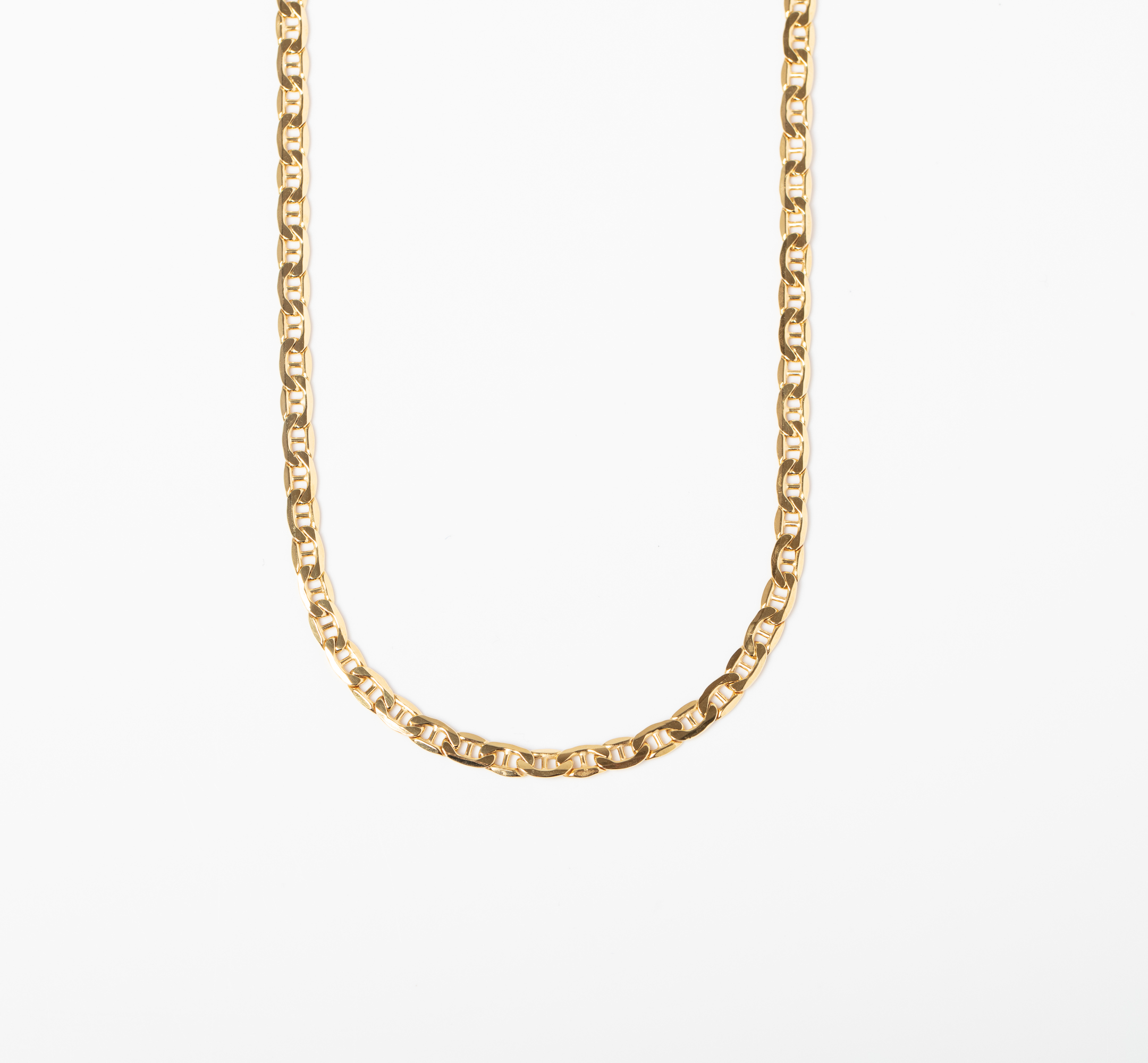 A 9CT GOLD MARINER LINK CHAIN