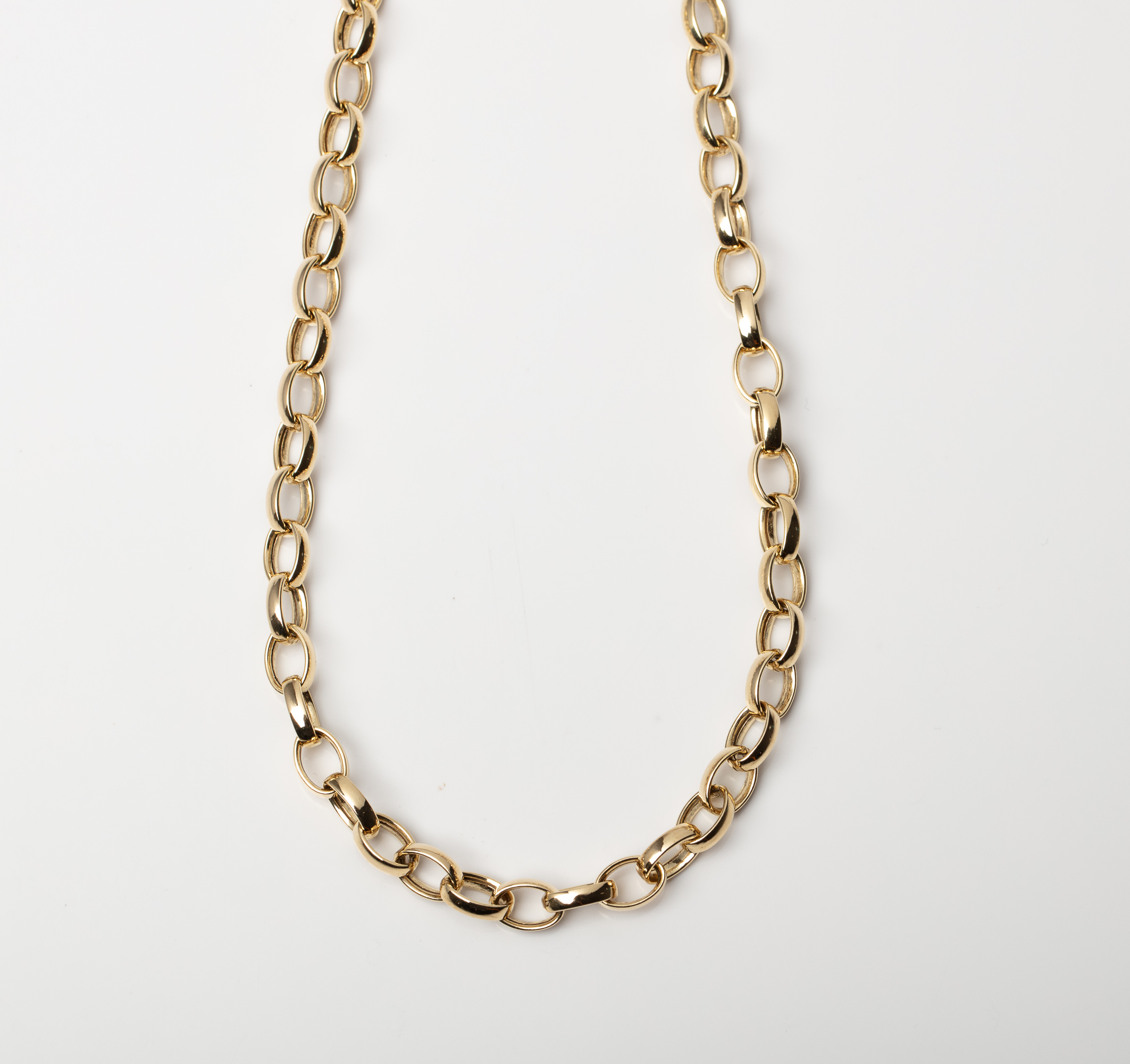 A 9CT GOLD AND SILVER BONDED ROLO CHAIN