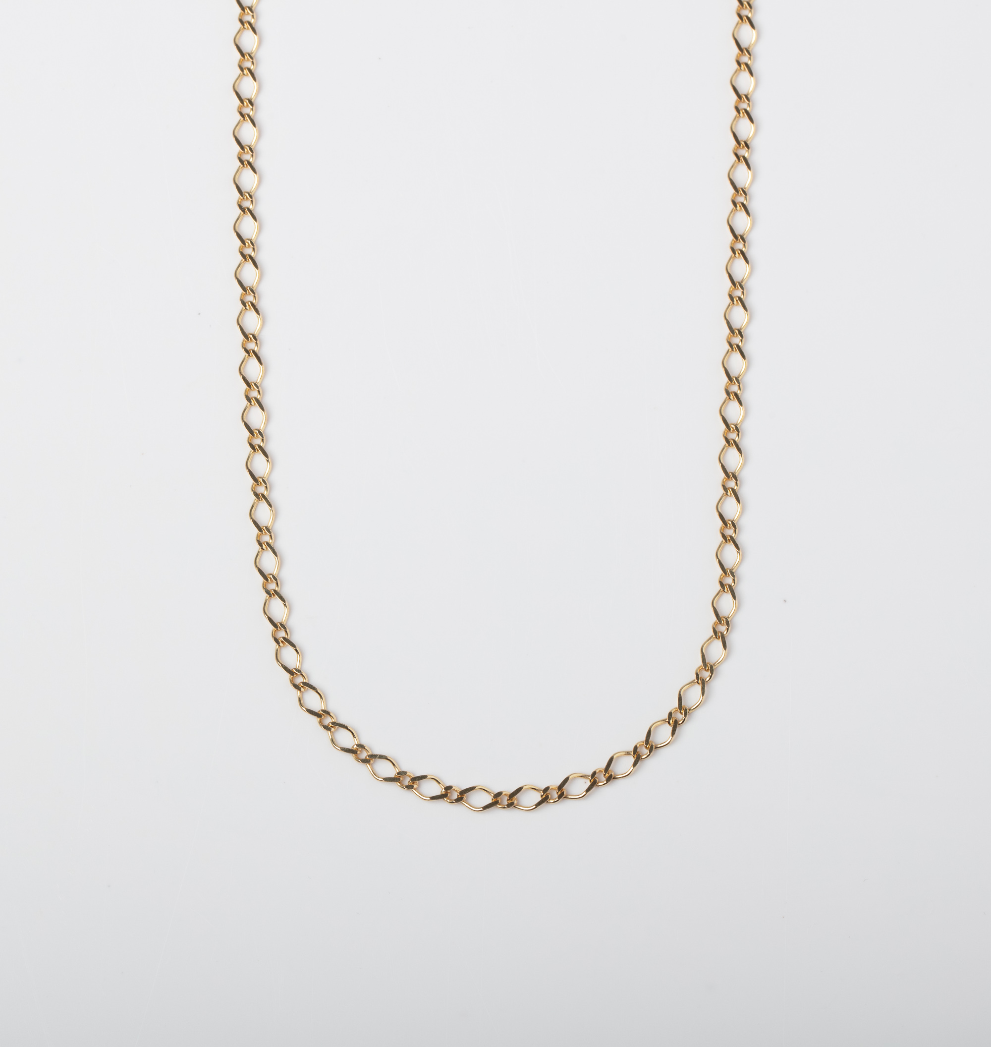 A 9CT GOLD FANCY LINK CHAIN