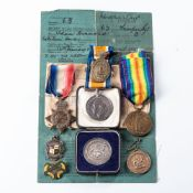 GERMAN SOUTH WEST AFRICA WWI TRIO. 1914-15 STAR BRITISH WAR MEDAL & VICTORY MEDAL