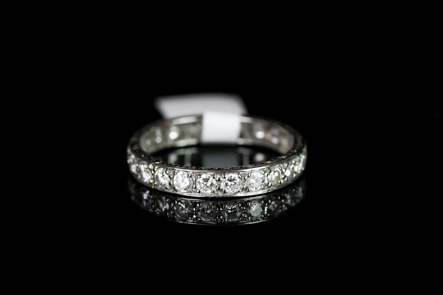 Lot 581 - PLATINUM FULL ETERNITY RING, estimated 0.40ct total, stamped PLAT, total weight 5.30gms, ring size