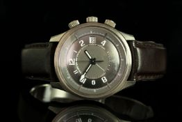 GENTLEMENS JAEGER LE COULTRE ASTON MARTIN MEMOVOX WRISTWATCH W/ BOX & PAPERS, circular chrome two