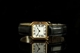 MID SIZE CARTIER PARIS 18CT GOLD WRISTWATCH, cquare white dial with black roman numerals and inner