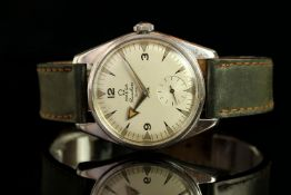 GENTLEMENS OMEGA RANCHERO 30MM WRISWATCH, circular white dial with arrow hour markers and fat