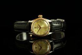 LADIES ROLEX OYSTER PERPETUAL 'ZEPHYR' BI METAL WRISTWATCH REF. 6621, circular patina hairline