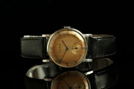 GENTLEMANS VINTAGE JAEGER-LE COULTRE 4636/408813,round, pink salmon dial with black hands,black