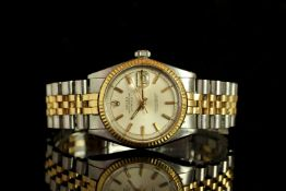 GENTLEMENS ROLEX OYSTER PERPETUAL DATEJUST BI METAL WRISTWATCH REF. 1603, circular off white pie pan