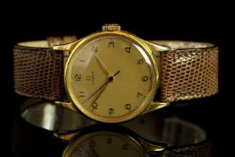 GENTLEMENS OMEGA 30T2 WRISTWATCH REF. 2391, circular gold dial with black roman numerals and an