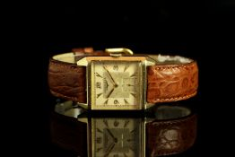 GENTLEMENS LONGINES 10CT GOLD FILLED WRISTWATCH W/ BOX, square two tone dial with gold hour