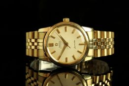 GENTLEMENS OMEGA AUTOMATIC SEAMASTER WRISTWATCH, circular patina dial with gold hour markers and