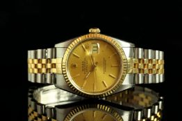 GENTLEMANS TWO TONE ROLEX DATEJUST,MODEL 16233 SN E74....CIRCA 1990, round,champagne dial with