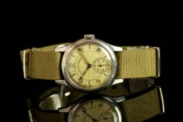 GENTLEMENS WEST END CO INDIAN CIVIL SERVICE WRISTWATCH, circular patina dial with arabic numerals