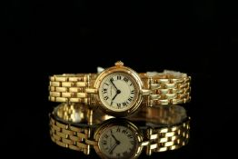 LADIES CARTIER COUGAR 18CT GOLD QUARTZ WRISTWATCH REF.1737, circular off white dial with black roman