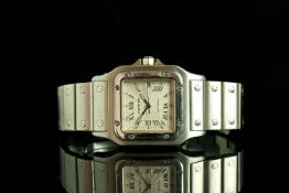 MID SIZE CARTIER SANTOS , MODEL 2319,square,silver dial and hands,silver roman numeral markers, date