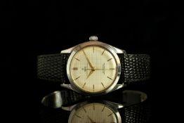 GENTLEMENS TUDOR OYSTER ELEGANTE WRISTWATCH REF. 7960 CIRCA 1961, circular off white waffle dial