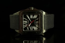 GENTLEMANS CARTIER SANTOS CARBON 3774, square, black dial with illuminated markers, white roman