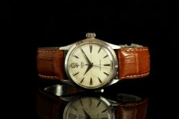 GENTLEMENS TUDOR OYSTER ROSE WRISTWATCH REF. 7934, circular patina hairline dial with arrow head