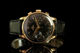 GENTLEMENS LEMANIA 18CT ROSE GOLD CHRONOGRAPH WRISTWATCH, circular black gloss twin register dial