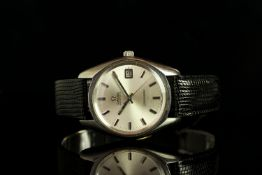 GENTLEMENS OMEGA AUTOMATIC SEAMASTER DATE WRISTWATCH, circular silver dial with baton hour markers