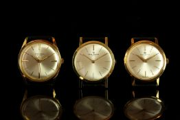 GROUP OF 3X BAUME & MERCIER NOS GOLD PLATED WRISTWATCHES, all three have circular silver dials