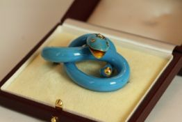 Victorian Turquoise snake brooch, carved turquoise set with diamond eyes and head, approximate width