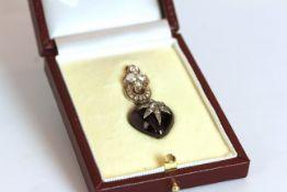 Georgian Diamond set heart pendant, set with an approximate total of 2ct diamonds, hanging black