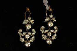 Early 20th Century Paste set earrings, large white paste stones old and cushion cut, mounted in