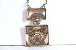 Lalaounis large silver necklace, large rectangular panel (10x9cm) with swirl shell design, suspended