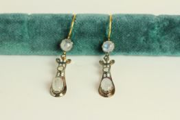 Pair of Moonstone and Diamond drop earrings, each set with 2 noonstones and 2 diamonds, fish hook