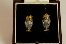 Pair of Owl earrings, stone set eyes, stamped 9ct yellow gold, fish hook style, approximate length