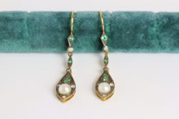 Pair of Diamond, Emerald & Pearl drop earrings, each set with one pearl, 5 diamonds and 5