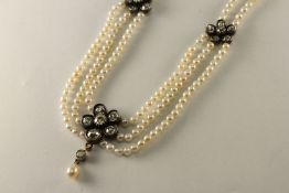 Victorian Old Cut Diamond and Pearl neklace, central old cut diamond daisy cluster size stones,