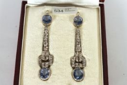 Art Deco Ceylon Sapphire and Diamond drop earrings, a pair of oval cut sapphires to each earring,