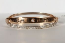 18CT WHITE AND YELLOW GOLD CARTIER LOVE BANGLE , yellow band set with 6 brilliant cut diamonds,